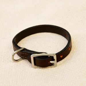 elegant leather collar - dark brown Elegant Leather Collar – Dark Brown Leather Collar Brown 300x298