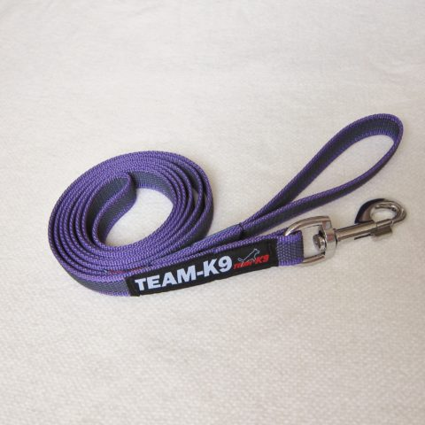 dog leash, dog leashes, purple dog leash, dog training, quality dog leash, IPO, TEAM-K9, textil wide rubber, mississauga, ontario, oakville, brampton, toronto, GTA fabric rubber leash Fabric Rubber Leash 20 mm – With Handle Leash TEAM K9 Textil Wide Rubber Handle Purple 480x480