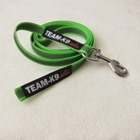 dog leash, dog leashes, dog training, neon green leash, quality dog leash, IPO, TEAM-K9, textil wide rubber, mississauga, ontario, oakville, brampton, toronto, GTA rubberized nylon leash Rubberized Nylon Leash 15 mm SHORT – No Handle Leash TEAM K9 Textil Wide Rubber No handle Neon Green 480x480