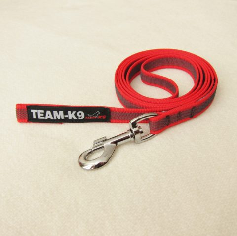 dog leash, dog leashes, dog training, red dog leash, quality dog leash, IPO, TEAM-K9, textil wide rubber, mississauga, ontario, oakville, brampton, toronto, GTA rubberized nylon leash Rubberized Nylon Leash 15 mm – No Handle Leash TEAM K9 Textil Wide Rubber No handle Red 480x478
