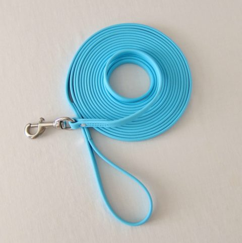 TEAM-K9, dog leash, long leash, long lead, protection training leash, tracking leash, 20 ft leash, Biothane leash, mississauga biothane protection training leash 20 ft Biothane Protection Training Leash – Light Blue TEAM K9 Biothane 20ft Leash Light Blue 480x481