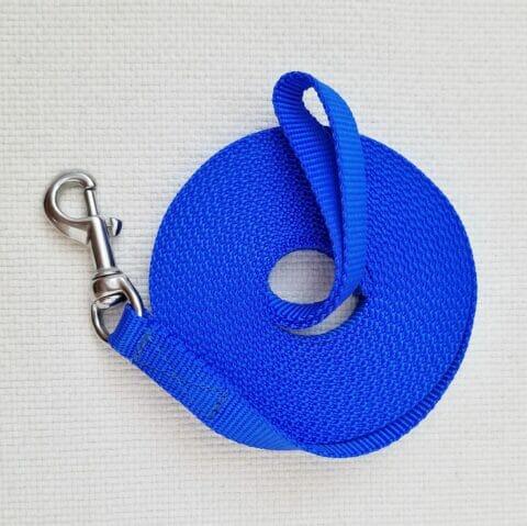 blue leash, protection dog training, protection leash, 20 foot leash, TEAM-K9 blue nylon protection leash 20 ft Blue Nylon Protection Leash 20 ft Blue Protection Leash 1 480x479